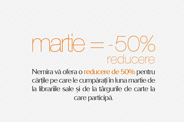 50% reducere pentru cărţile din librării şi de la târguri!