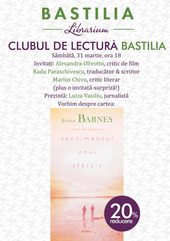 Sentimentul unui sfârșit, la Clubul de lectură Bastilia