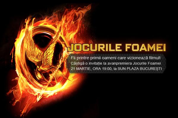 Câștigă o invitație la avanpremiera filmului Jocurile Foamei