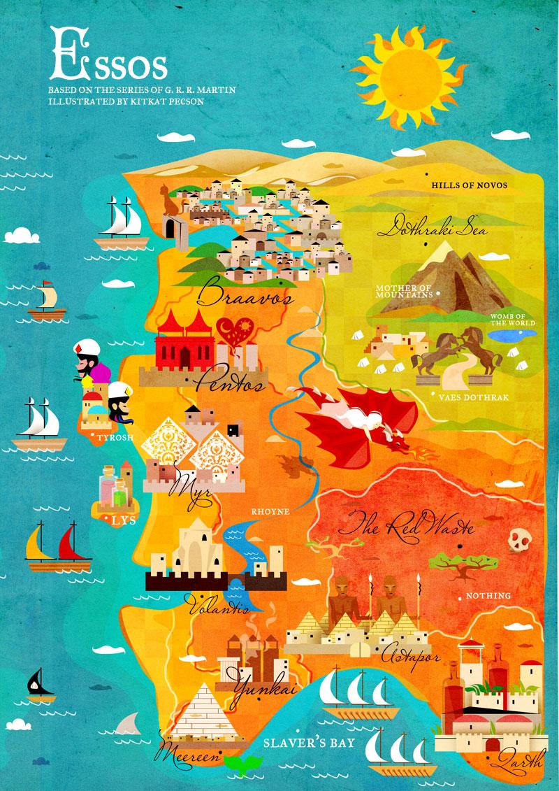 Hărți stilizate inspirate de Urzeala Tronurilor