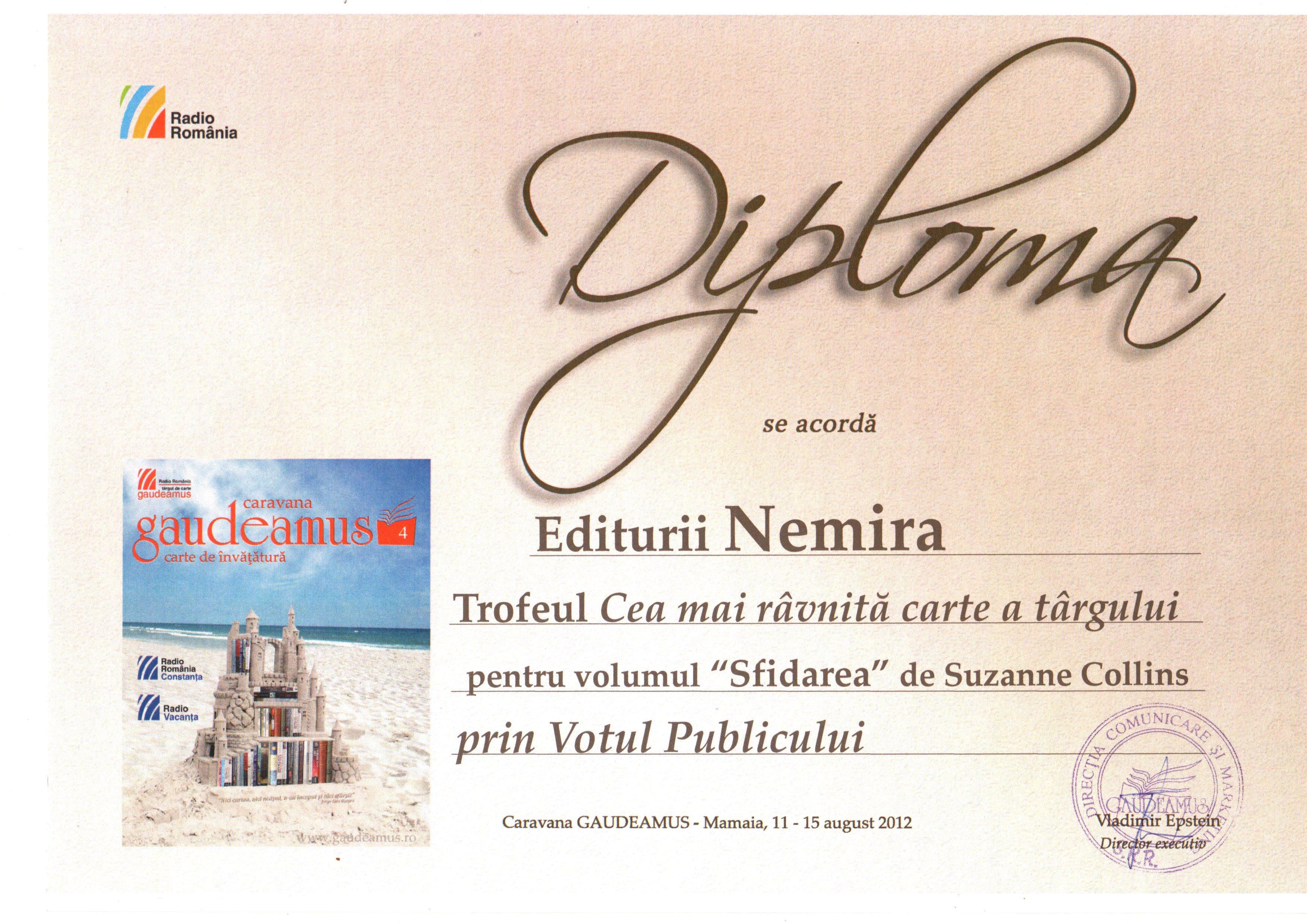 Editura Nemira a fost premiată la Târgul Gaudeamus Mamaia 2012