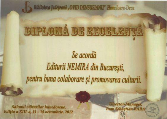 Editura Nemira a fost premiată la Salonul Editurilor Hunedorene – 2012