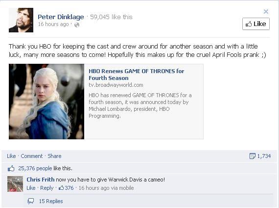Urzeala tronurilor continuă şi în sezonul 4!