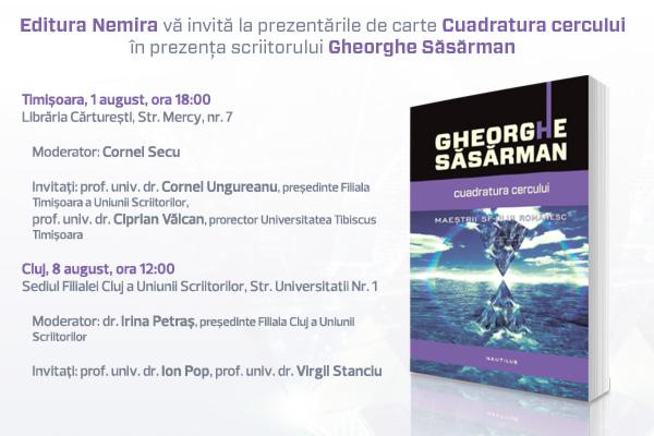 Scriitorul Gheorghe Săsărman revine în România în cadrul a două evenimente la Timişoara şi Cluj
