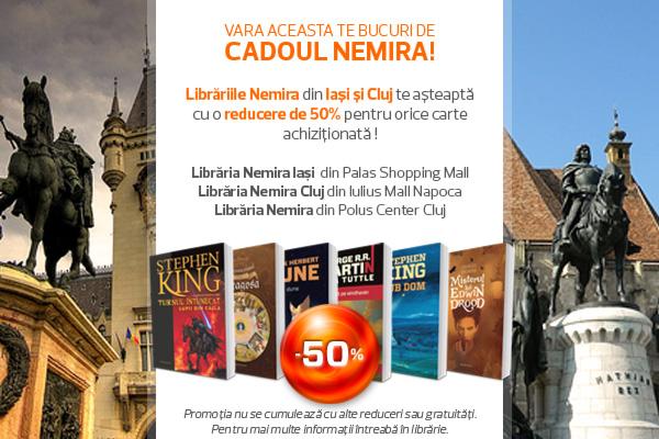 Librăriile Nemira din Cluj şi Iaşi te aşteaptă cu reduceri de 50% !