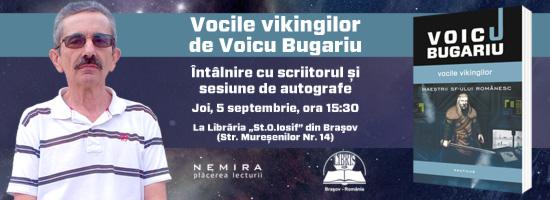 """Întâlnire cu scriitorul Voicu Bugariu şi sesiune de autografe la Librăria """"St.O.Iosif"""" din Braşov"""
