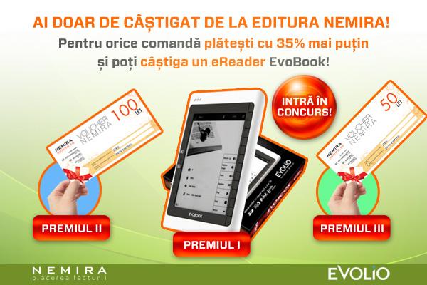 Câştigătorii concursului Nemira (Premii: E-reader Evolio şi vouchere de cumpărături)