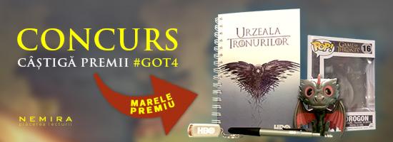 Sezonul 4 Game of Thrones începe în curând! Participă la CONCURSUL organizat de editura Nemira şi HBO România!