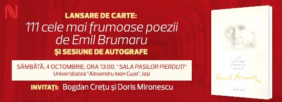 Emil Brumaru vă dă întâlnire sâmbătă la Iași!