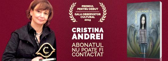 Pariul literar al lui Valentin Nicolau, confirmat: Cristina Andrei câştigă Premiul Observator Cultural pentru debut