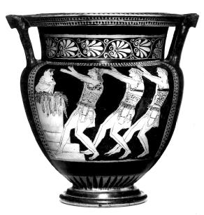Cor din tragedia începuturilor. Pictaţi la Atena în jurul anului 490 î.Hr., cei şase soldaţi tineri cântă şi dansează la unison (a se observa măştile identice). Probabil sunt membrii unui cor dintr-o tragedie şi ridică o stafie din mormântul care se vede în stânga.
