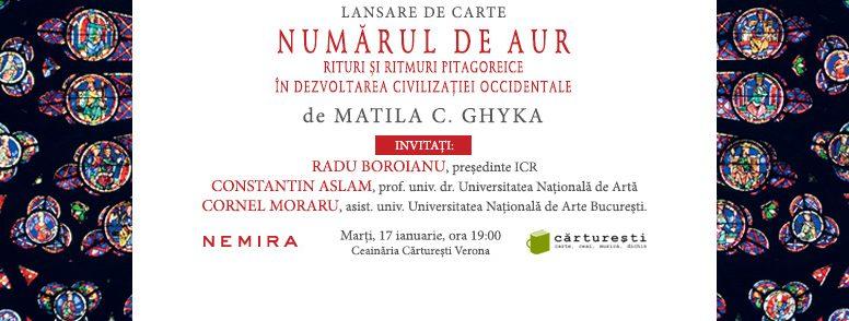 Numărul de aur, de Matila C. Ghyka se lansează marți, 17 ianuarie