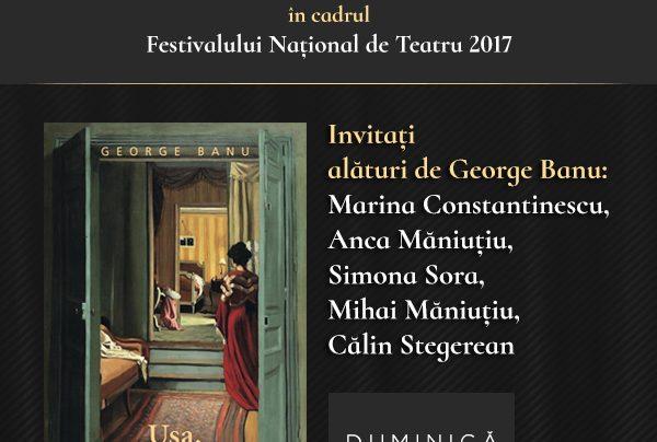 Invitație lansare de carte Ușa, de George Banu, duminică, 22 octombrie.
