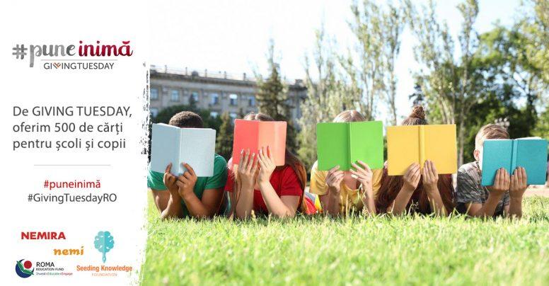#PuneInimă: de GIVING TUESDAY, oferim 500 de cărți unor școli